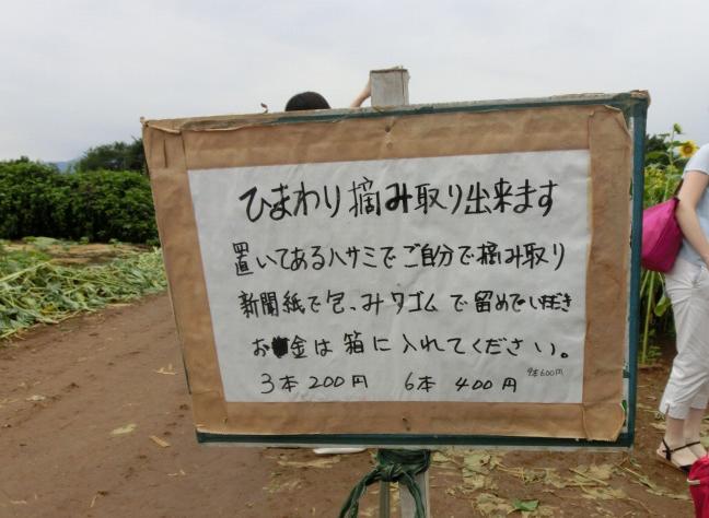 花の摘み取り看板