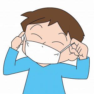 マスクをして